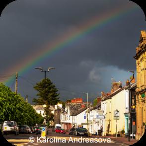 Rainbow over East Street South Molton by Karolina Andreasova